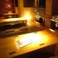 20名様の宴会も可能な板の間席ガラス戸やのれんで仕切られているので個室としてもご利用いただけます。