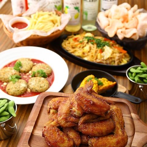 大学生応援!飲み放題2時間!肉厚手羽先・唐揚げ・ポテトフライ 料理7品 『学生コース』