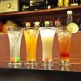 鮮やかなカクテルも各種ご用意しております。ワイン、フルーツ、ウィスキー色々あるので選ぶのも楽しい。お酒の苦手な方にも各種ノンアルコールカクテルをご用意いたしております!!