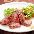 料理メニュー写真和牛特選いちぼ肉のステーキ~わさび醤油とガーリック塩で~