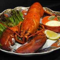 料理メニュー写真釣ったオマールエビでボイル/塩焼き/マヨネーズ焼き