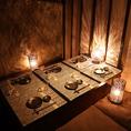 6名様までご利用可能な掘りごたつ個室。落ち着きある空間でお客様だけの時間をお過ごしいただけます。