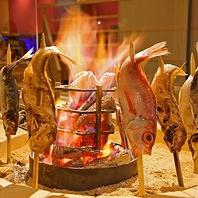 炭火で豪快に!五感で愉しむ・名物「炉端原子焼き」