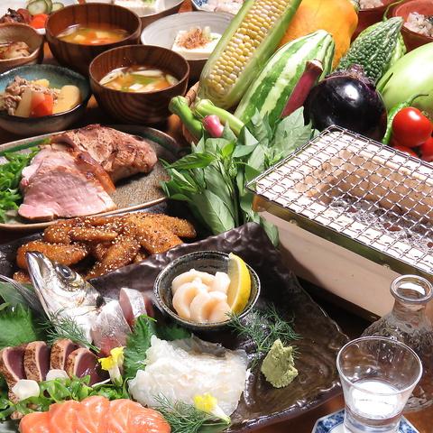 無農薬にこだわった野菜や果実を使った健康的なお酒やヘルシーな晩御飯もご用意♪