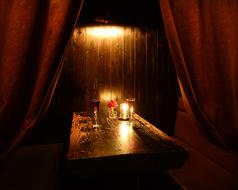 カーテン付き個室は4名様お座り頂けます♪接待 記念日 誕生日 デート 女子会 プライベートetcでご利用頂けます。
