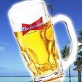 バドワイザービールで乾杯!ビールによく合うおつまみも豊富にそろえています。