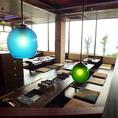 琉球ガラスの照明が美しい。広い座敷席は大型宴会も歓迎!