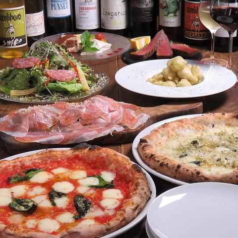 【飲み放題付き大満足Pizzaディナーコース】肉もPizzaもパスタもドルチェも楽しめます!5500円♪