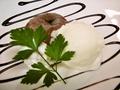 料理メニュー写真フォンダンショコラのバニラアイス添え