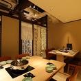 《10名までのテーブル個室》グループ宴会での利用に最適な個室。接待・お祝い等での利用に最適。