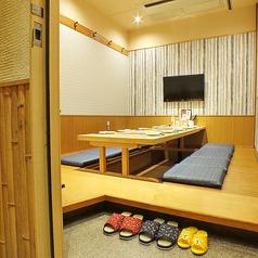 旅館のような風情がある完全個室。プライベート感のある掘りごたつ個室席はお子様連れのお客様にも嬉しいテレビ付き☆
