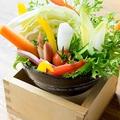 料理メニュー写真新鮮桶盛り野菜 和風バーニャカウダソースと自家製肉みそで