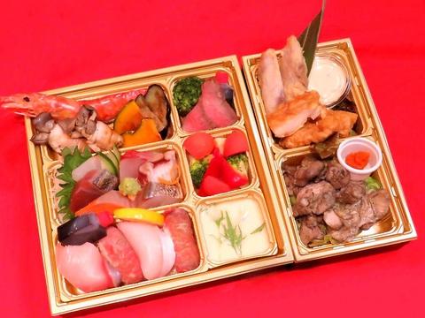 ご宴会パーティメニューをテイクアウト♪日向灘7点盛と宮崎赤鶏、宮崎牛の握り寿司コース3,000円