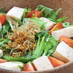 豆腐と水菜のじゃこサラダ