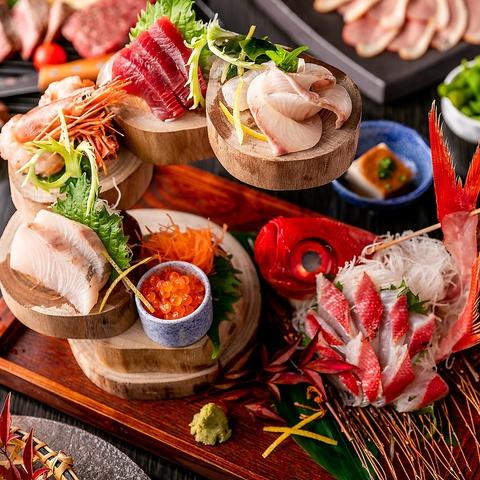 【特選コース】〈2.5時間飲み放題+9品〉お造り3種盛・牛ロースステーキ・大海老の海鮮寄せ鍋