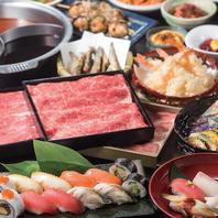 巴のしゃぶしゃぶ食べ放題♪お寿司や天ぷらなど大満足◎