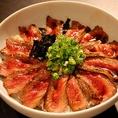 当店一番人気ランチメニュー!ステーキ丼(サラダ・味噌汁・ドリンクバー付)