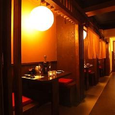 プライベート感を楽しむならこちら!縦長の完全個室は様々なシーンでご利用いただけます。