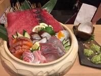 まず頼みべきは!造り盛り合わせ魚盛り1080円(税込)