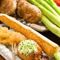 旬の美味しいお野菜や季節の魚介など季節の美味しい素材を串あげでお楽しみ頂けます