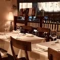 貸切可:15名様から予約可能。最大人数は22名まで。誕生日・記念日・祝い事・歓送迎会などパーティー・イベントなど多種多様なご利用をいただいてます。イタリアの絵画や雑貨が並んだカジュアルな空間。所狭しとワインの瓶が立ち並びんだカジュアル造りの本格イタリアレストランです。コース充実◎