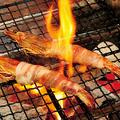 料理メニュー写真中津市耶馬溪 錦雲豚の大海老巻き炙り(タレまたは塩)