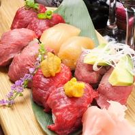 「話題の」肉寿司180円~!赤身、霜降りなど◎