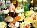 料理メニュー写真16種類以上のもんじゃお好み焼食べ放題&3時間アルコール飲み放題付3100円→クーポン利用で2750円