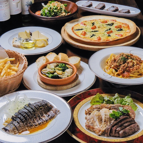 厳選肉の3種盛りやチーズ盛り、ピザなど料理9品+120分飲放付 4,500円(税込)