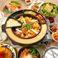 ≪トライジンコース≫3時間飲み放題付★メインが今話題の「チーズタッカルビ」が楽しめる一番人気のコースです♪その他にキムチとナムルの盛り合わせ、ちょっぴり辛い韓国風豆富サラダ、ヤンニョムチキン&チリポテト、かりもちチヂミなども楽しめます♪