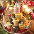 ☆有料グレードアップ☆『カラフル★BIGロールケーキタワー』4980円(税抜)【要事前予約】《☆こちらのケーキをご注文のお客様限定でなんと「金箔入りスパークリングワイン」をプレゼント致します☆》