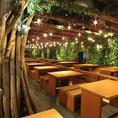 最大300名様までご利用いただける屋内型ビアガーデンのご利用はいかがですか?店内中央には木の装飾があり、揺らめく電灯が夜空の星を思わせる開放的な空間となっております。同窓会・会社宴会・歓送迎会など大人数様でのご宴会大歓迎!お気軽にお問合せくださいませ。