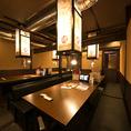 【<24名様迄>テーブル個室】中規模の宴会にもご利用いただける、最大24名様迄対応可能のテーブル個室を完備しています。