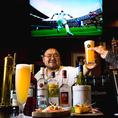カウンターにいるおっきい大将と楽しい会話、美味しいお酒、バーカウンターから観戦できるスポーツは、野球、サッカー、様々なスポーツ、シーズンに合わせて観戦できます。当店おすすめ白穂乃香(樽生)他では、なかなか飲めないビールでございます。