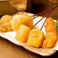 料理メニュー写真牛/豚ヘレ/山芋/レンコン/なす/玉葱/さつまいも/にんにく/卵(爆弾)/ししゃも/イカ/カマンベールチーズ