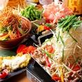 明石の昼網により仕入れる鮮魚付きコースは計9種類!宴会コースは全10品/2500円~種類豊富にご用意しております。近郊の信頼のおける農家さんより仕入れるお野菜や、丹波や淡路の朝引きの赤鶏、明石の昼網で仕入れる鮮魚を使用する逸品料理の数々をご堪能下さい。接待・女子会・誕生日・記念日・合コンに最適です!