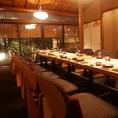 【1階:個室】最大34名様までの宴会ができます。接待や、食時会にもお薦めの空間です。フロア貸切も可能ですのでお気軽にお問合せ下さい。