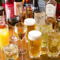 【種類豊富な飲み放題メニュー】ビール、ハイボール、ワイン、カクテルなど種類豊富なドリンクメニュー。もちろんソフトドリンクもございますので、アルコールが苦手な方でも安心してパーティーをお楽しみいただけます。