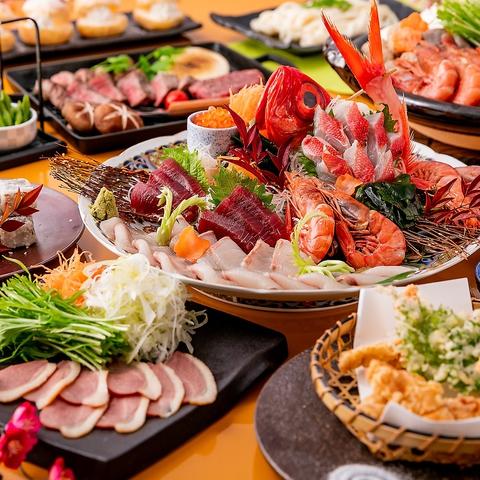 【歓送迎会&下見】牛ステーキ・大海老の海鮮寄せ鍋 飲み放題 2.5時間+お料理9品【特選コース】