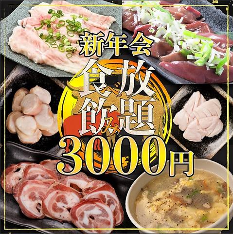 【歓送迎会推奨!】厳選内臓90分食べ飲み放題3000円(込)全34品 !