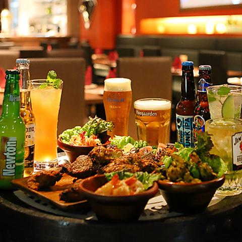 ビアガーデンに◎!【全9品】石釜BBQコース+プレモル・黒ビールOK!2H飲み放題⇒3490円