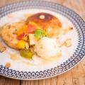 料理メニュー写真ハニーフルーツとメープル・シナモン・バニラアイス