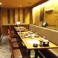 ゆったり個室は最大70名様までOK◎新横浜駅徒歩3分の駅近◎日頃の疲れを残さないよう、掘りごたつ式を採用致した個室席は、接待から飲み会まで、ご利用シーンを問わない人気のお席となっております。ゆったり寛ぎながらお楽しみ下さい。
