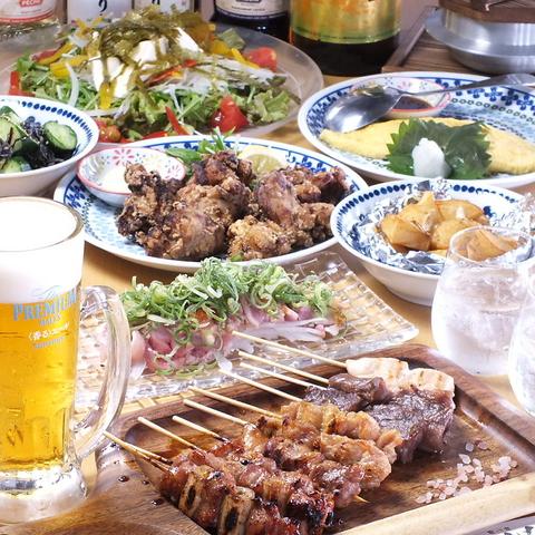 朝挽き地鶏や、旬野菜の串焼きが自慢のお店!大満足!2H飲み放題付の串焼きコース有♪