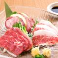 【九州自慢×馬刺し3種盛り合わせ】 低カロリー・高タンパクでミネラル豊富な桜肉。希少部位を取り揃えました。 「馬刺し」「馬カルビ刺し」「馬タンのタタキ」の3種の味わいを是非食べ比べてみてください。