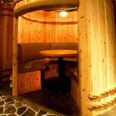 女子会にもぴったり♪な樽型個室!みんなでワイワイ楽しめます。