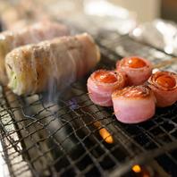 沖縄県産豚バラ肉を使った野菜串巻き♪