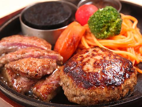 当店自慢の黒毛和牛入りハンバーグと北海道産牛サーロインステーキのプレート