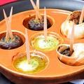 料理メニュー写真エビ/エスカルゴ/ホタテの貝柱