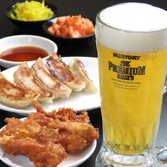 生ビール(プラミアムモルツ)+唐揚